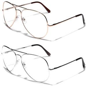 Non Prescription Oversized Retro Metal Aviator Clear Lens Men Women Face Glasses