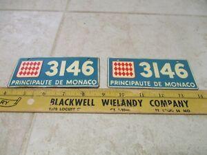VTG Lot 2 Bicycle License Plates Cereal Premiums Principaute De Monaco 1953