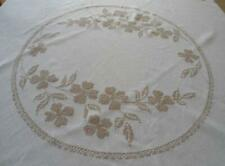 Vintage Linen Tablecloth Taupe Hand Embroidered Floral Round Crosstitch 64""