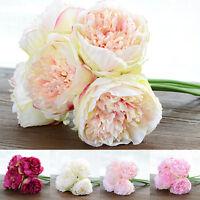 Flower Bouquet Artificial Fake Peony Silk Bridal Wedding Party Home Garden Decor
