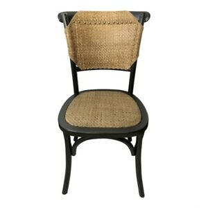 "16.5"" W Set of 2 Dining Chair Black Solid Elm Frame Rattan Nail Head Detail"