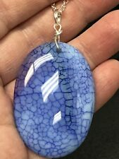 "Geode Crystal Blue ""Cracked"" Oval (FreeTibetan Silver 18"" Necklace D-1282)"