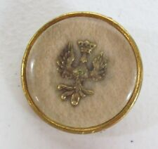 Rare Antique Lucite & Metal LARGE Victorian Button - WINGED Bird w/ CROWN