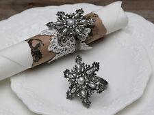 4 x Silver Snowflake Napkin Ring Christmas Diamanté Pearl Ice Crystal Vintage