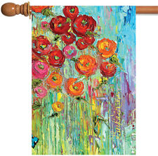Toland Fabulous Flowers 28 x 40 Bright Colorful Floral Painting House Flag