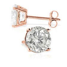 4.5 Carat 14K Solid Rose Gold Cubic Zirconia Stud Earrings