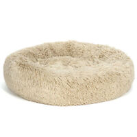 """Luxury Faux Fur Donut Cuddler Small Round Donut Cat and Dog Cushion Bed  (25x9"""")"""