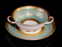 Stunning Antique Rosenthal Selb Plossberg Gold Encrusted Aida Cream Soup Bowl