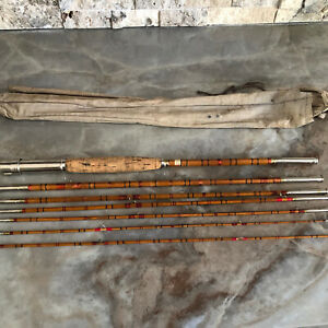 SIX (6) Section 9'' Split Bamboo TRAVEL Fly Rod With Extra Tip!!!