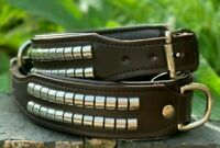 LEATHER DOG COLLAR STUDDED FOR STAFFY ROTTWEILER PIT BULL AND OTHERS BROWN COLOR