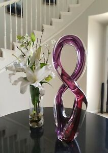 LARGE MURANO FIGURE 8 PURPLE & RED GLASS ART SCULPTURE SIGNED GES HOLT 2005