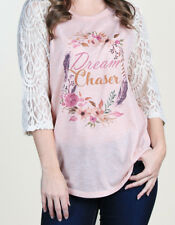 Southern Grace Dream Chaser Women's Shirt w/Lace 3/4 Sleeves L