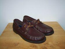 RALPH LAUREN Polo Sport Dark Brown Leather Mens Deck Boat Shoes Size UK-9D EU-43