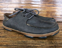 "Mens Olukai ""Ohana"" Casual Lace Up Shoes Brown Nubuck Leather Size 9 M"