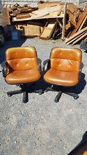 Paire (n°1) de fauteuils vintage en cuir signés Talin italy