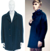 ROMEO GIGLI JOYCE teal blue mohair wool textured notched lapel coat EU50 US42 L