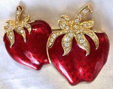 Vintage Swarovski Crystal RED Guilloche ENAMEL STRAWBERRY Fruit PIN/Brooch,FJT