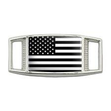 Subdued American USA Flag Black White Rectangular Shoe Shoelace Tag Gym Charm