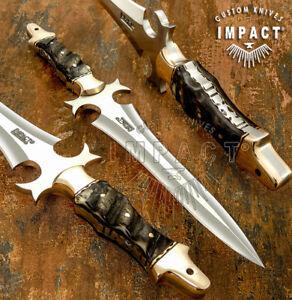 IMPACT CUTLERY RARE CUSTOM D2 FULL TANG BOOT KNIFE DAGGER RAM HORN HANDLE