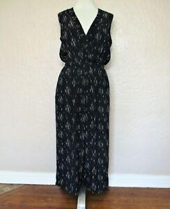 Madewell Jumpsuit Medium Women black gray viscose wide leg sleeveless