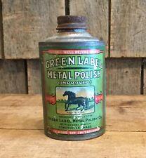 RARE Vintage GREEN LABEL Metal Polish Tin Can Horse Graphics Unused MASS