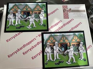 2 x Decoupage Pictures of  Bowling Green Theme Toppers