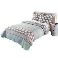 2pcs Kids Quilt Bedspread Comforter Set Throw Blanket for Boys Girls Elephant