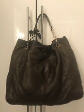 """LANVIN """"Amalia"""" Brown Quilted Leather Logo Large Shoulder Chain Bag Shopping"""