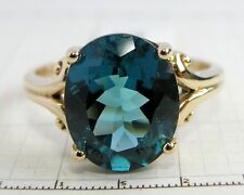 R080- Genuine 9ct Solid Gold LARGE London Blue Topaz Ring Solitaire Ring size N