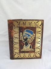 "Egyptian Genuine Camel Leather Brown Phone Address Book Nefertiti 8.25"" R1"