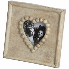 Love Heart Cream Photo Picture Frame Shabby Chic Xmas Gift 14 X 14cm - 7x7cm