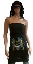 WoW AMPLIFIED Offi GUNS N'ROSES Skull Star Trägerloses Kleid Stretch Top Shirt L