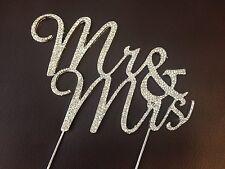 MR & MRS Wedding Diamante Cake Decoration Topper, Pick Rhinestone Effect Sparkle