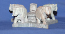 Vintage Elephants Hand Carved Stone Statuette