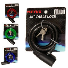 "36"" Bicycle Bike Anti-Theft  Security Steel Cable Lock Chain 4 Colors With"