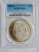 1884-O $1 Morgan Silver Dollar PCGS MS 64  Beautiful Crescent Reverse Toning