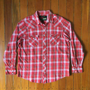 Old Navy Vintage Flannels red check shirt western, rockabilly, country, mens XL