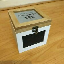 wooden chalk board treasure chest storage box jewellery organiser gift box new