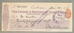 The London Provincial Branch Limited cheque - Eastbourne 1903, CHQ No. 813261