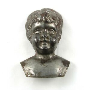 Antique Tin Metal Doll Head Two Pieces Unpainted