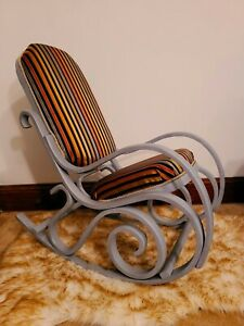 Vintage Thonet style Bentwood Rocking Chair Reupholstered with memory foam