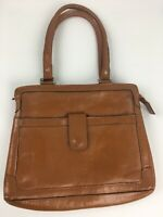 Genuine Leather Satchel Womens Handbag Bag Purse Made in Brazil Brown Cognac