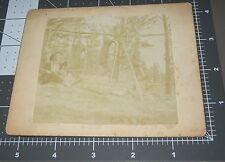 Deer Hunter Trapper Hunting Gun Antlers Man Fur NH Antique Cabinet Card PHOTO