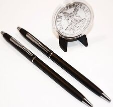 Classic Black and Chrome Police Pens W/ St. Michael Coin