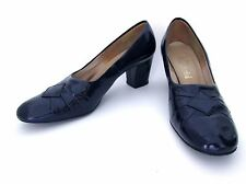 Vgc Vtg 60s Navy Blue Wet Look Vinyl Career Shoes Chunky Heels Square Toes 9Aa