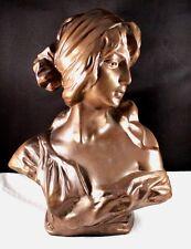 "Amazing 10"" Bronze Styled Woman Lady Bust Statue"