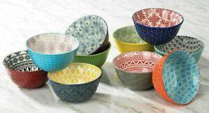 Gorgeous Signature Stoneware 10 Bowl Set - 11oz - Each Bowl is Stunning & Unique
