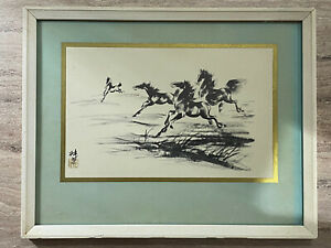 Chinese ink horse painting