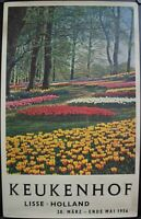 1956 Keukenhof Lisse Holland Netherlands Garden of Europe Travel Poster
