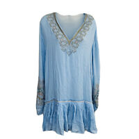 NEW Free People Peasant Top Size M Oversized Embellishments Bell Sleeves Boho
